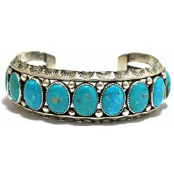 Old Pawn Valley Blue Turquoise Sterling Silver Large Cuff Bracelet