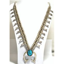 Old Pawn Turquoise Sterling Silver Squash Blossom Necklace