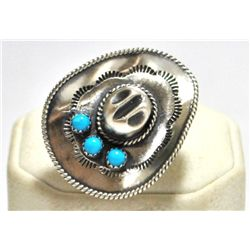 Old Pawn Navajo Turquoise Cowboy Hat Sterling Silver Women's Ring - Running Bear