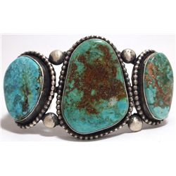 Old Pawn Navajo Blue Diamond Turquoise Sterling Silver Cuff Bracelet - Nelvin Burbank