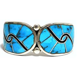 Old Pawn Zuni Turquoise Sterling Silver Cuff Bracelet - HS
