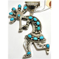 Old Pawn Turquoise Kokopelli Sterling Silver Pendant - DE