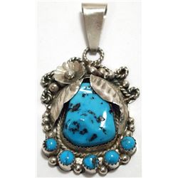 Old Pawn Navajo Turquoise Sterling Silver Pendant - LN
