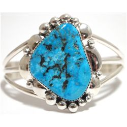 Old Pawn Navajo Sleeping Beauty Turquoise Sterling Silver Cuff Bracelet - J