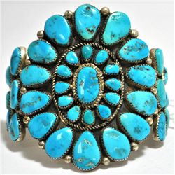 Old Pawn Turquoise Needlepoint Sterling Silver Cuff Bracelet