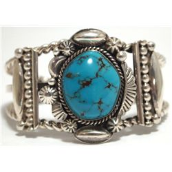 Old Pawn Navajo Spider Web Turquoise Sterling Silver Cuff Bracelet - Henry Sam