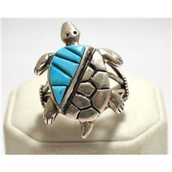 Old Pawn Navajo Turquoise Sterling Silver Turtle Men's Ring