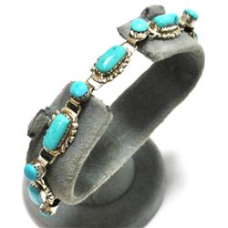 Old Pawn Zuni Turquoise Sterling Silver Link Bracelet - W. Quam