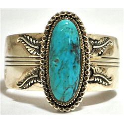 Navajo Turquoise Sterling Silver Cuff Bracelet - Running Bear