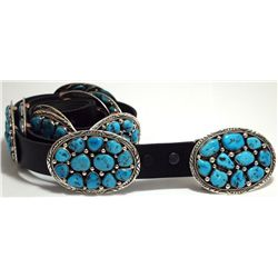 Navajo Turquoise Cluster Sterling Silver Concho Belt - Marie Thompson