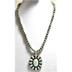 Old Pawn Navajo Dry Creek Turquoise Sterling Silver Necklace - SH