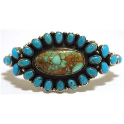 Old Pawn Navajo Pilot Mountain Turquoise & Sleeping Beauty Cluster Sterling Silver Cuff Bracelet - D