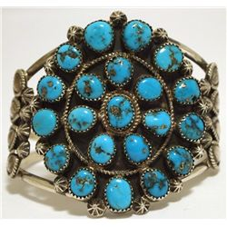 Old Pawn Navajo Turquoise Cluster Sterling Silver Cuff Bracelet - Running Bear