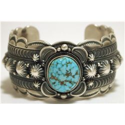 Old Pawn Navajo Spider Web Kingman Turquoise Sterling Silver Cuff Bracelet - Gene Natan