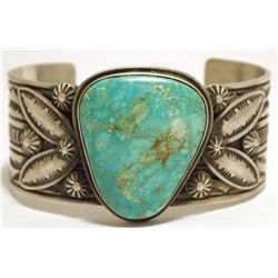 Old Pawn Navajo Mountain Turquoise Sterling Silver Cuff Bracelet - Freddie Maloney