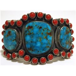 Old Pawn Navajo Mountain Turquoise & Coral Sterling Silver Cuff Bracelet - Kirk Smith