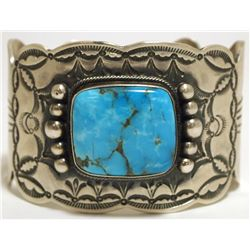 Old Pawn Navajo Kingman Turquoise Sterling Silver Cuff Bracelet - Wallace Yazzie, Jr.