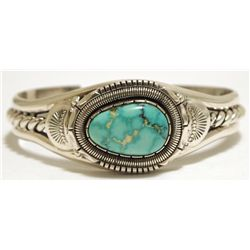 Old Pawn Navajo Royston Turquoise Sterling Silver Cuff Bracelet - Will Vandever