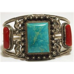 Old Pawn Navajo Coral & Turquoise Sterling Silver Cuff Bracelet - Running Bear