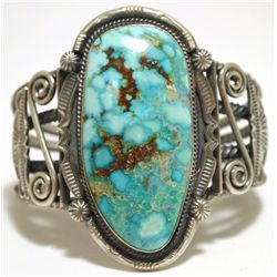 Old Pawn Navajo Mountain Turquoise Sterling Silver Cuff Bracelet - Oscar Alexius
