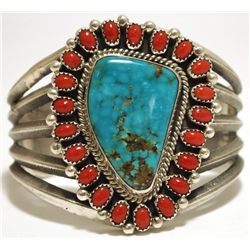 Old Pawn Navajo Coral & Mountain Turquoise Sterling Silver Cuff Bracelet - Mike Platero