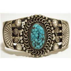 Old Pawn Navajo Spider Web Kingman Turquoise Sterling Silver Cuff Bracelet - Calvin Martinez