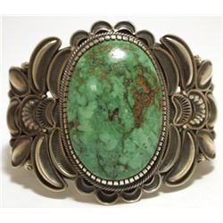 Old Pawn Navajo Green Fox Turquoise Sterling Silver Cuff Bracelet - Kirk Smith