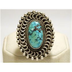 Old Pawn Navajo Spider Web Kingman Turquoise Sterling Silver Men's Ring - Calvin Martinez