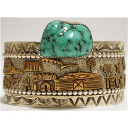 Old Pawn Navajo Turquoise & 12k Gold Fill over Sterling Silver Storyteller Cuff Bracelet - RN