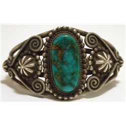 Old Pawn Navajo Ajax Turquoise Sterling Silver Small Cuff Bracelet - Rick Martinez