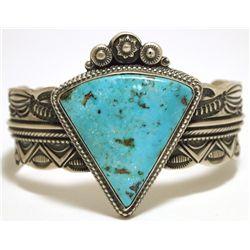 Old Pawn Navajo Morenci Turquoise Sterling Silver Cuff Bracelet - Wallace Yazzie, Jr.
