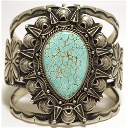 Old Pawn Navajo Spider Web #8 Turquoise Sterling Silver Cuff Bracelet - Randy Boyd