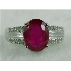 10K White Gold 1.06 CT Ruby and .20 CT Diamond Ring