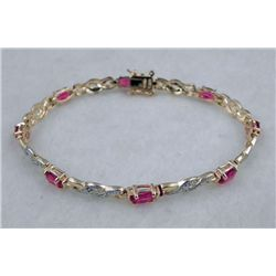 STERLING / GOLD RUBY BRACELET 4.77 CTW