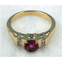 STERLING/GOLD TOPAZ GARNET RING 1.2 CTW