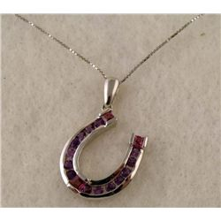 STERLING PLATED AMETHYST HORSE SHOE PENDANT NECKLACE