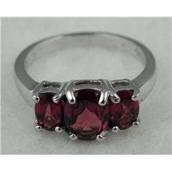 STERLING PLATINUM GARNET RING 1.77 CTW