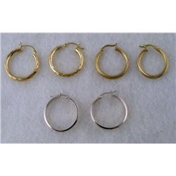3 PR GOLD AND SILVER HOOP EARRINGS