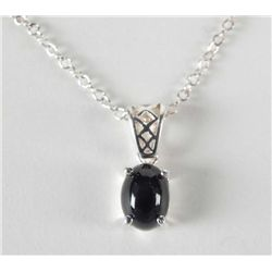 OVAL BLACK SAPPHIRE SILVER PENDANT NECKLACE