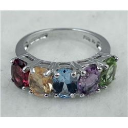 STERLING PLATINUM RING 2.25 CTW STONES