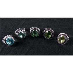 5 Sterling Rings, Blue Topaz, Green Peridot