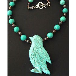 Unique Hand Carved Bird Turquoise gemstone and Bead Nec