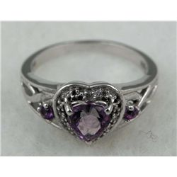STERLING HEART AMETHYST RING .66 CWT
