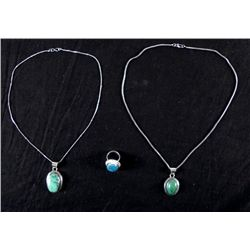 Turquoise 3 Pc Sterling Ring, Pendant Necklace Set