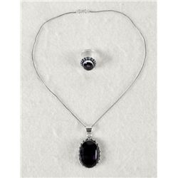 Amethyst 2 Pc Sterling Ring & Pendant Necklace Set