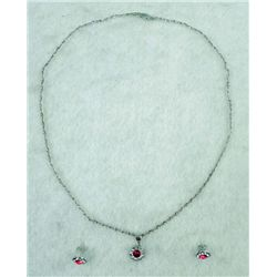 10K WHITE GOLD RUBY NECKLACE AND EARRING SET