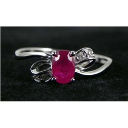 .20 CT Diamond and 1.06 CT Ruby 10K White Gold Ring