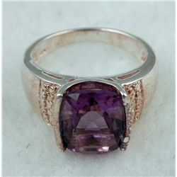 STERLING PLATINUM RING 3.03 CTW AMETHYST