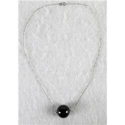 LARGE ONYX SPHERE PENDANT ON SILVER NECKLACE