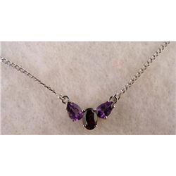AMETHYST + SILVER PENDANT NECKLACE
